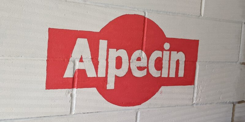 Alpecin logo painted on my garage wall